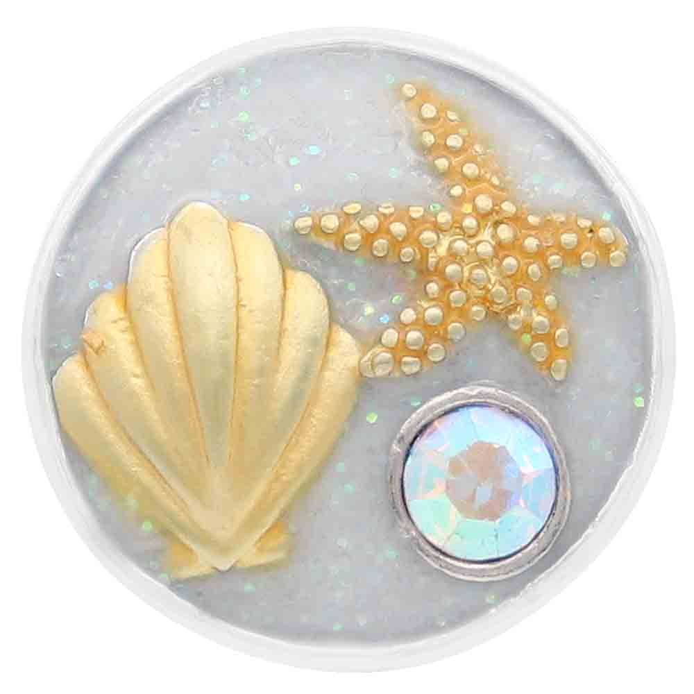 Snap Jewelry Enamel - Shell & Star Fish in Gold-Tones