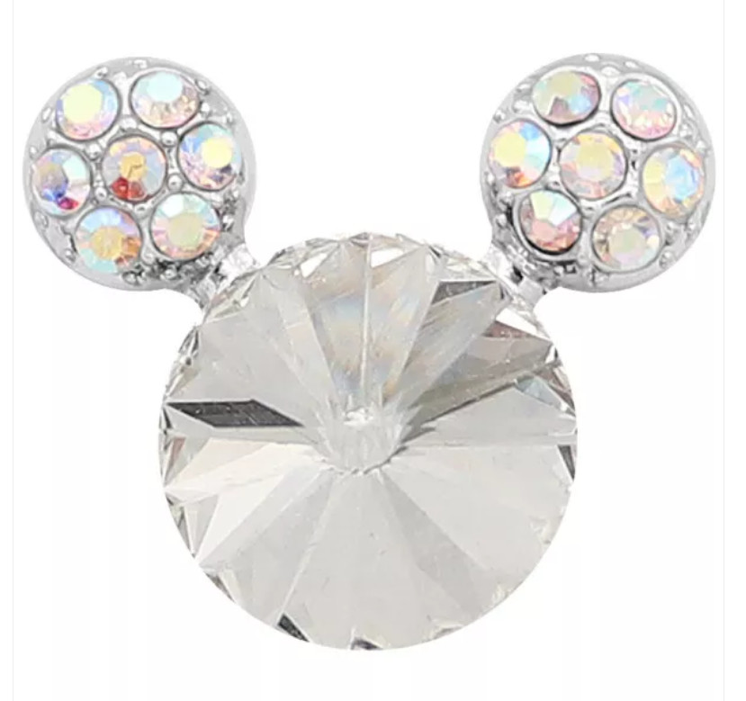 Snap Jewelry Rhinestone Mickey Mouse Shape Faceted Diamond Clear