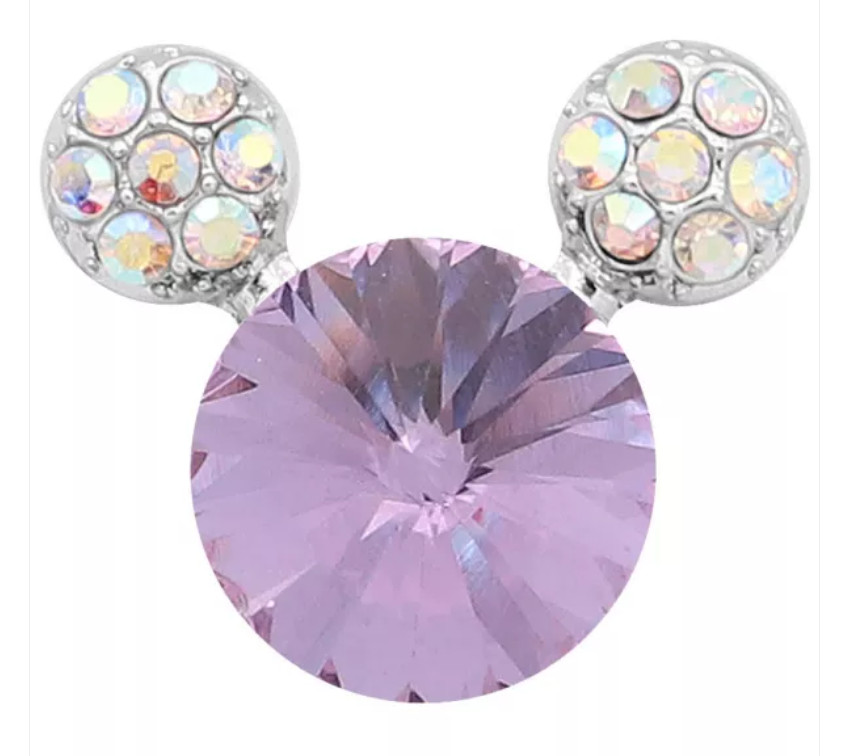 Snap Jewelry Rhinestone Mickey Mouse Shape Faceted Lavender