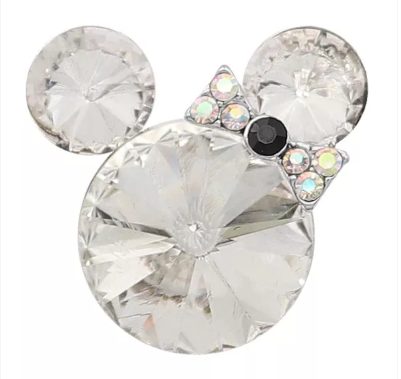 Snap Jewelry Rhinestone Minnie Mouse Shape Faceted Diamond Clear