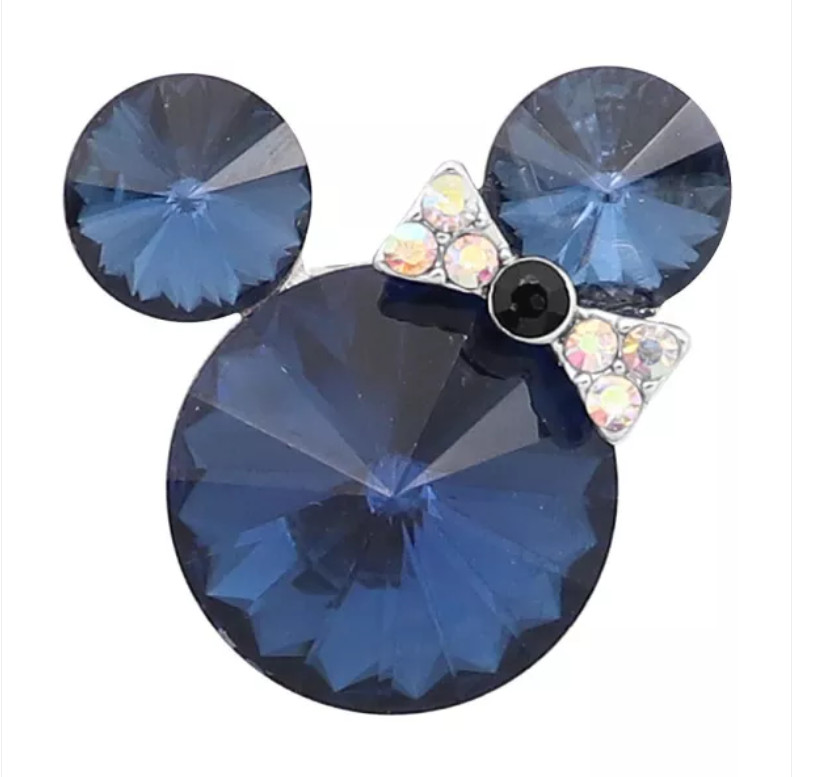Snap Jewelry Rhinestone Minnie Mouse Shape Faceted Blue Sapphire