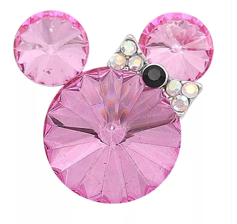 Snap Jewelry Rhinestone Minnie Mouse Shape Faceted Pink