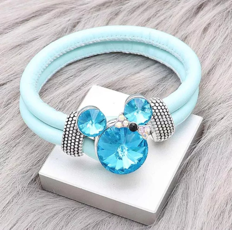 Snap Jewelry Rhinestone Minnie Mouse Shape Faceted Blue Topaz