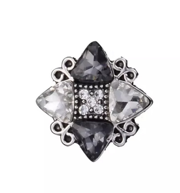 Snap Jewelry CZ - Grey Color Trillion & Marquise shaped Crystal