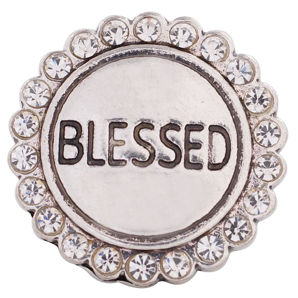 Snap Jewelry Rhinestone - Silver BLESSED Halo in Clear Stones