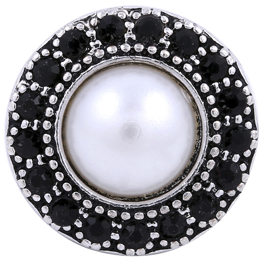 Snap Jewelry Pearl & Black Rhinestone Halo