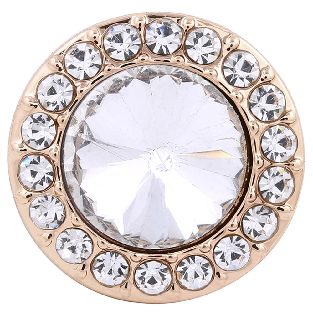 Snap Jewelry Rhinestone - Rose Gold Faceted Crystal Clear Halo