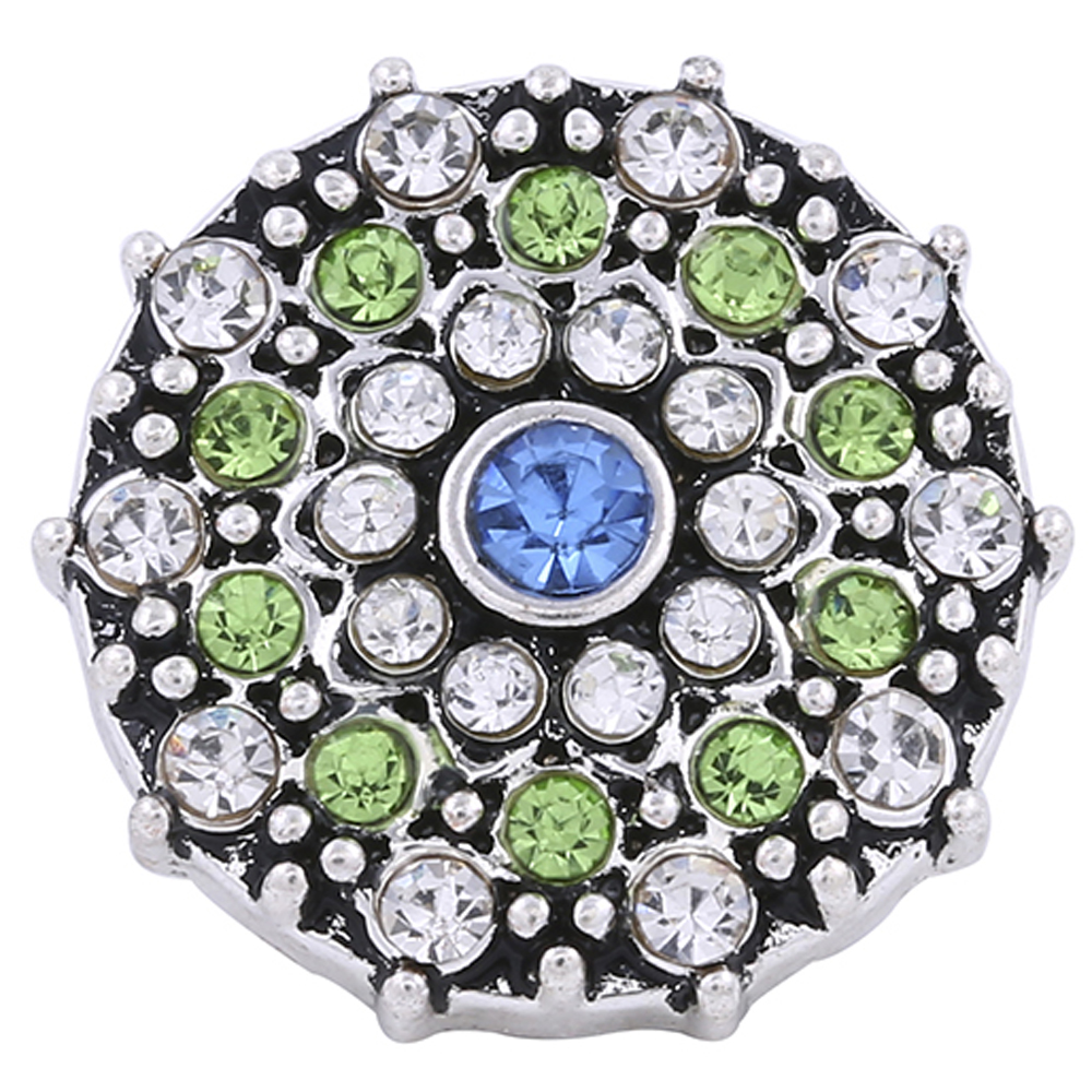 Snap Jewelry Rhinestone - Cluster Light Blue, Peridot & Clear