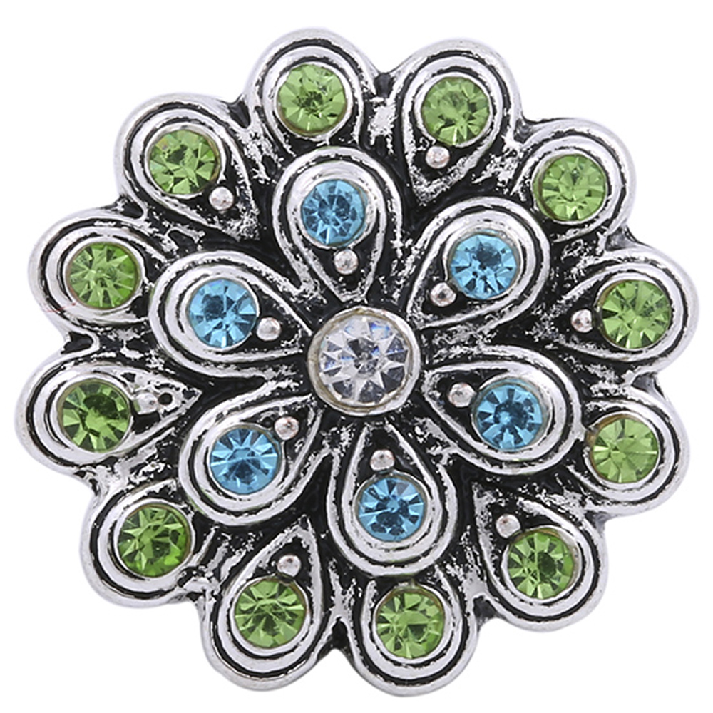 Snap Jewelry Rhinestone - Flower Lt Blue & Lt. Green