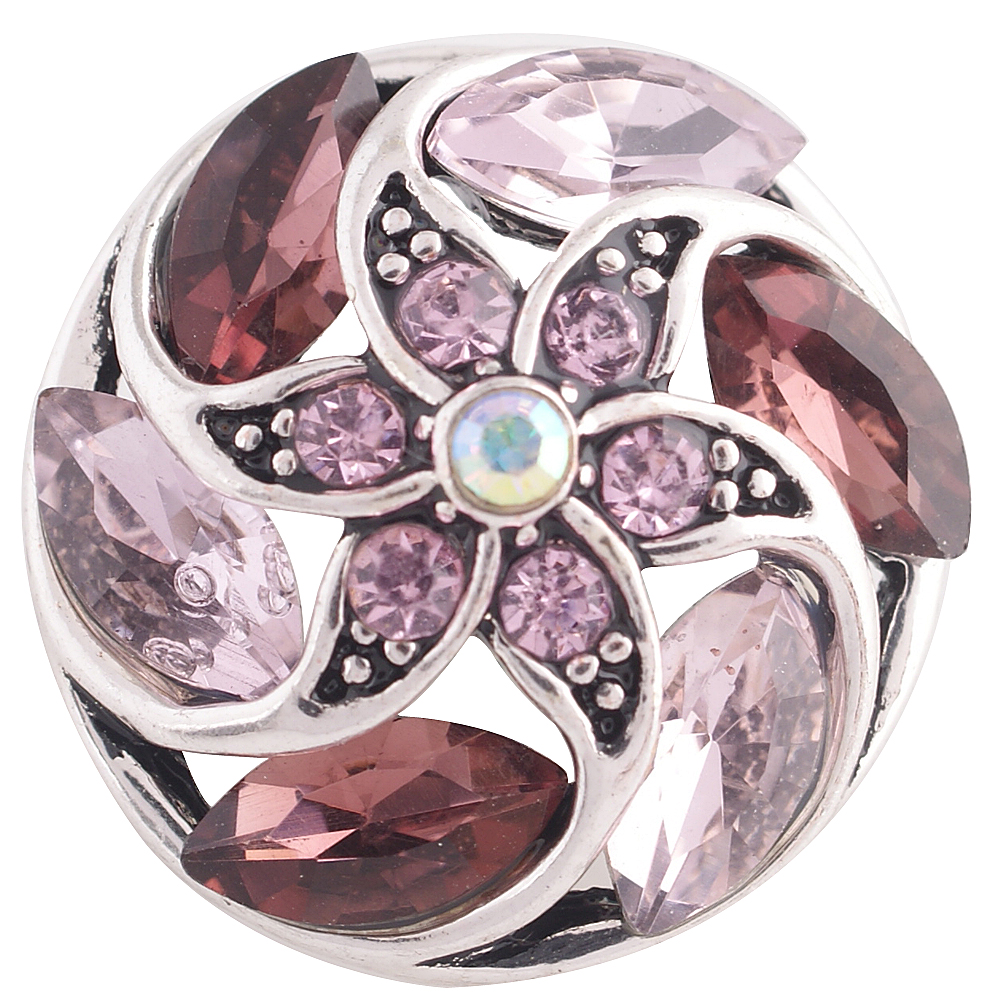 Snap Jewelry Rhinestone Marquise Flower Spiral - Purple & Pink