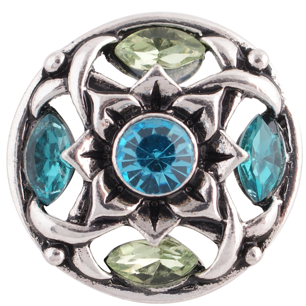 Snap Jewelry Rhinestone Flower - Light Blue & Peridot
