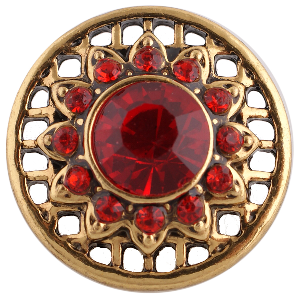 Snap Jewelry Rhinestone - Gold Tone - Red Flower