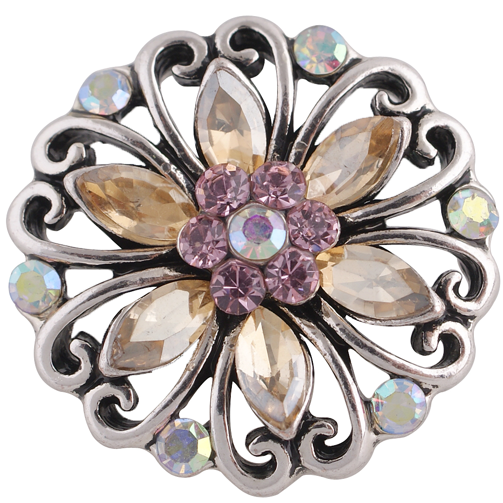 Snap Jewelry Rhinestone - Flower Open Scroll Shades of Blush