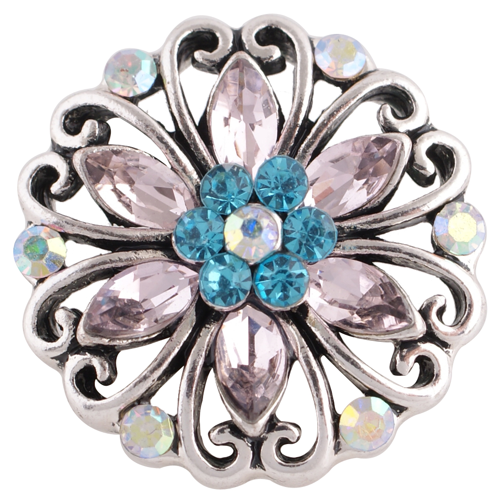 Snap Jewelry Rhinestone - Flower Open Scroll Blue & Pink