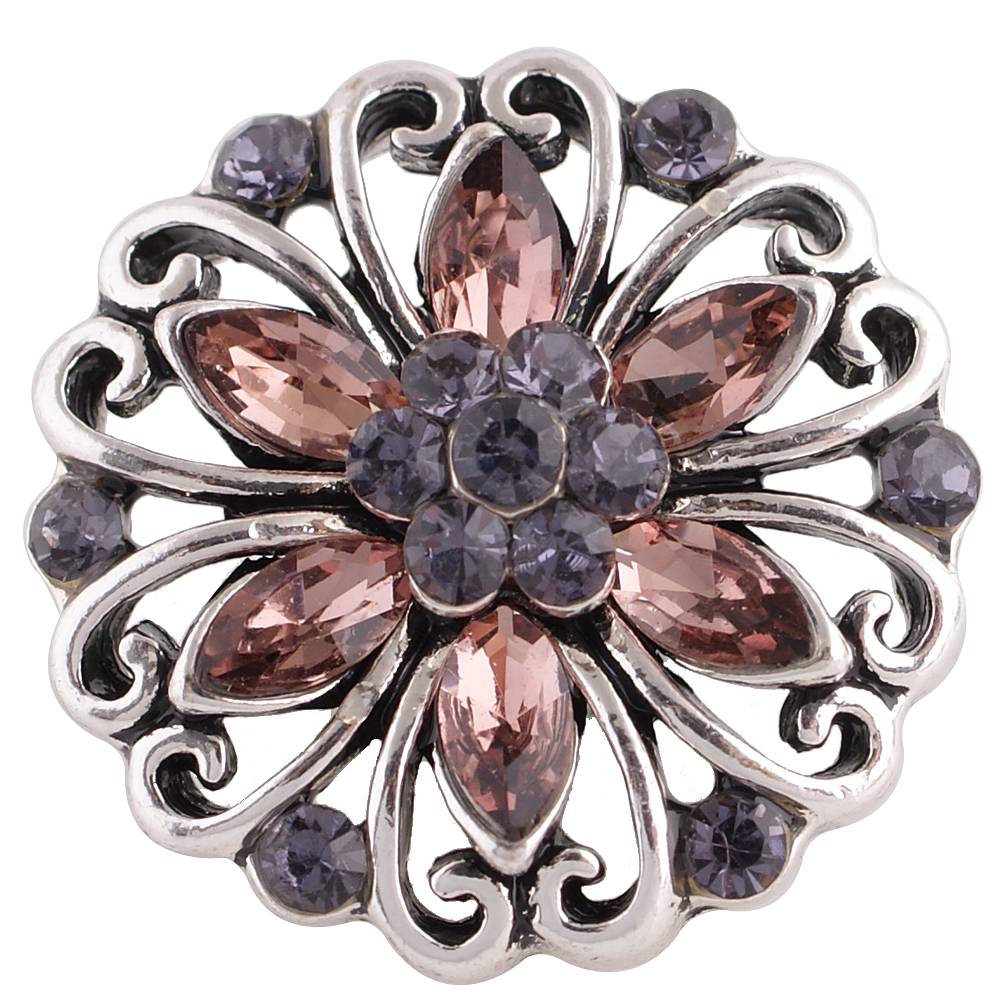 Snap Jewelry Rhinestone - Flower Open Scroll Shades of Purple