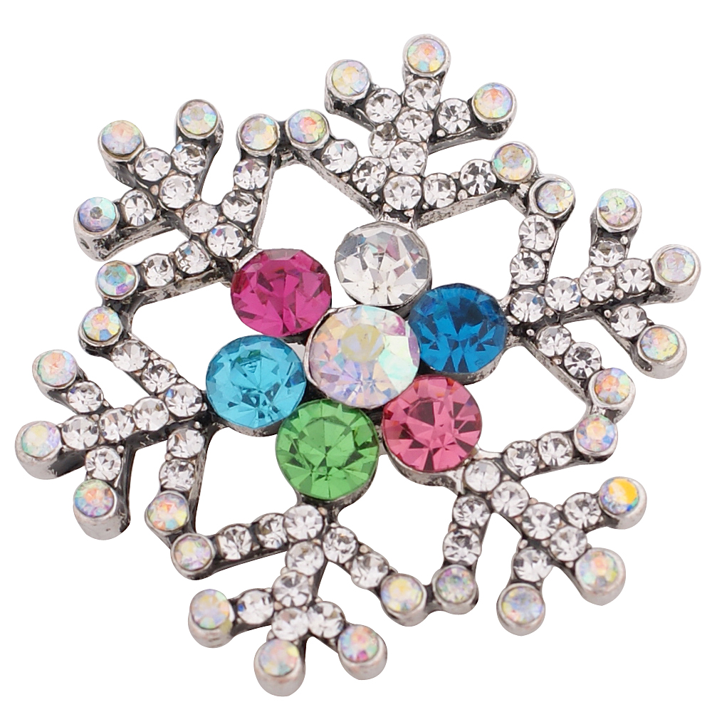 Snap Jewelry Rhinestone - Snowflake Clear & Multicolor