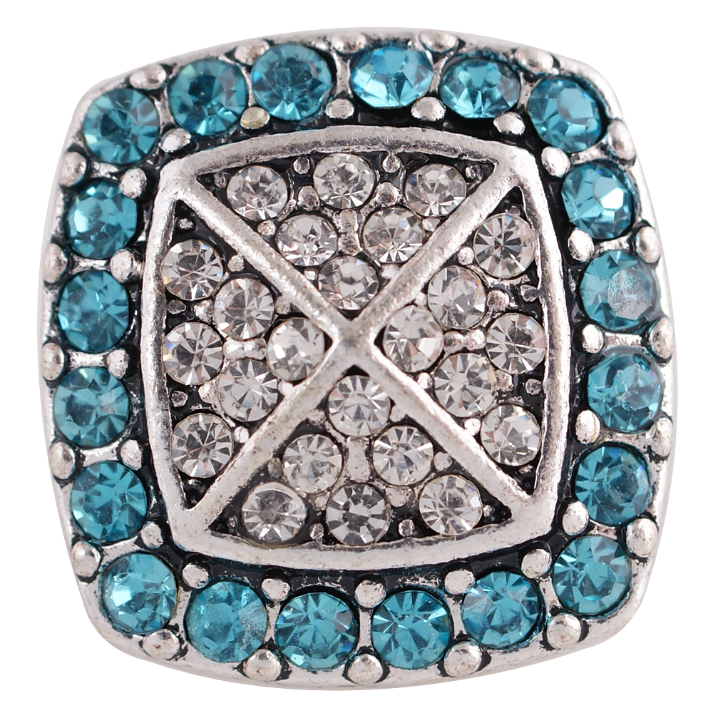 Snap Jewelry Rhinestone - Square Halo Clear & Light Blue
