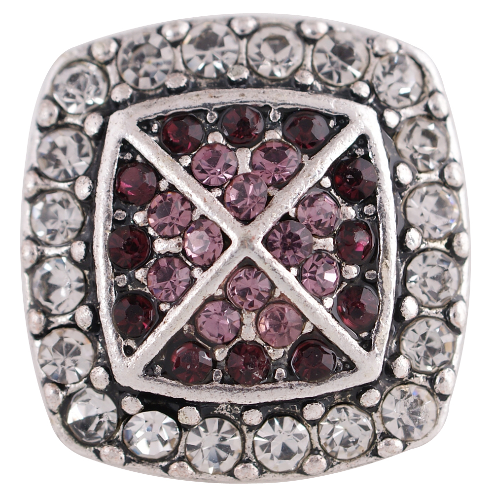 Snap Jewelry Rhinestone - Square Halo Clear & Purple