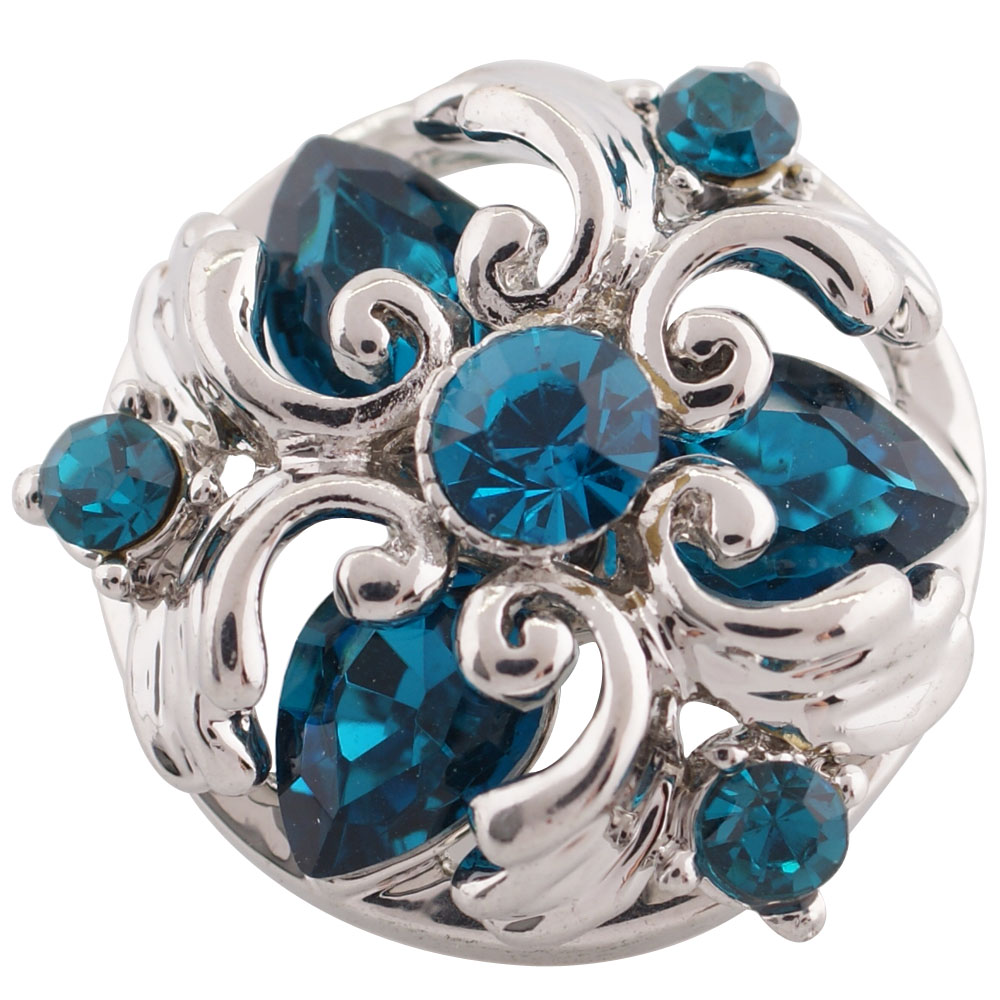 Snap Jewelry Rhinestone - Teadrop Heart Design Teal Blue