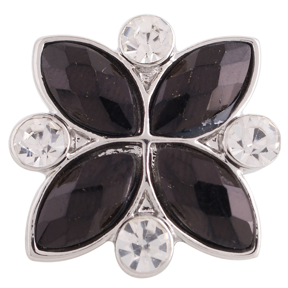 Snap Jewelry Rhinestone - Marquise Flower Black & Clear