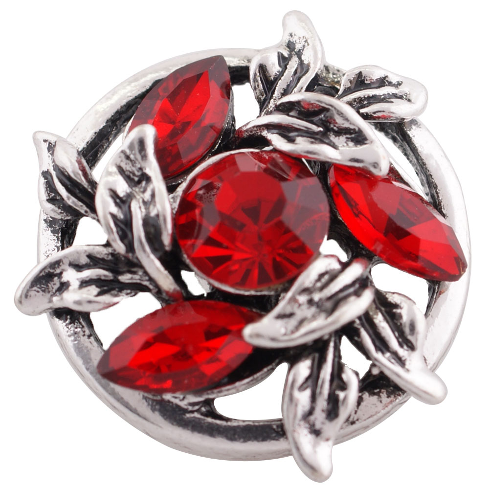 Snap Jewelry Rhinestone - Marquise Open Flower Red