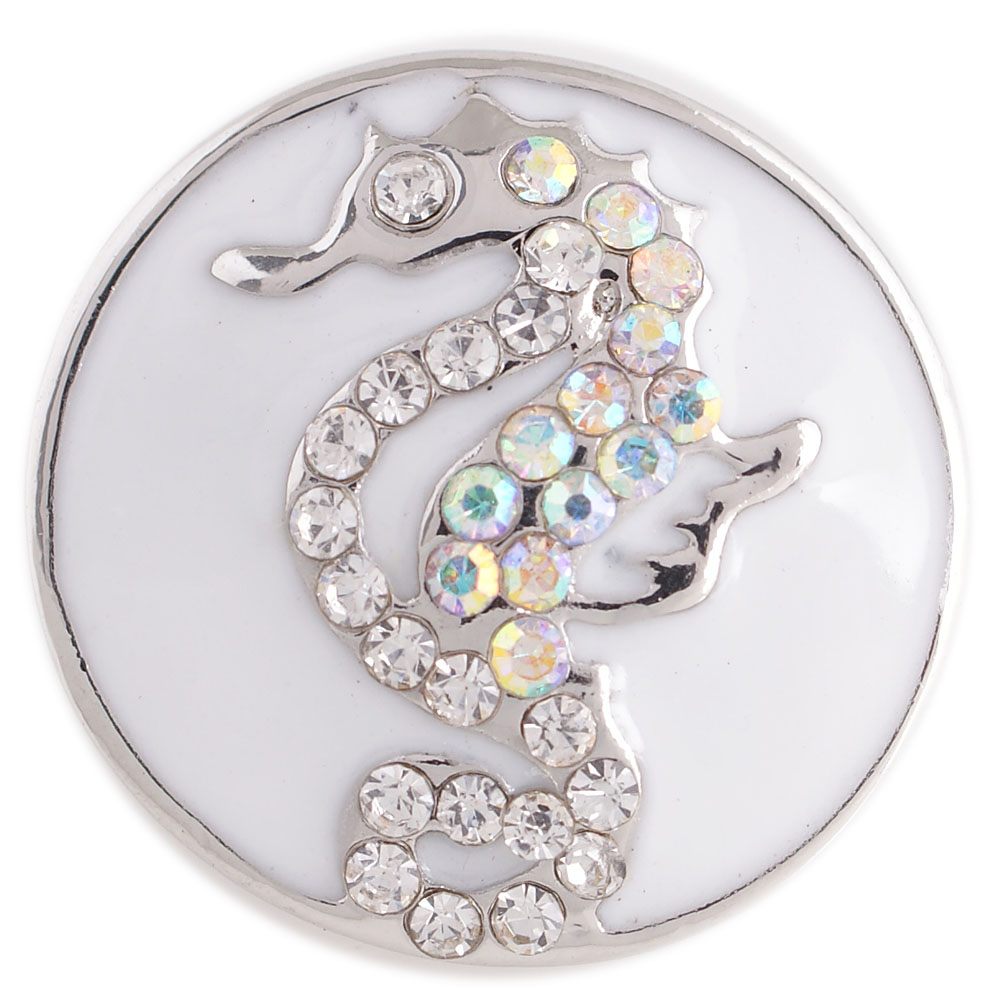 Snap Enamel Jewelry - Sea Horse White & AB Crystal