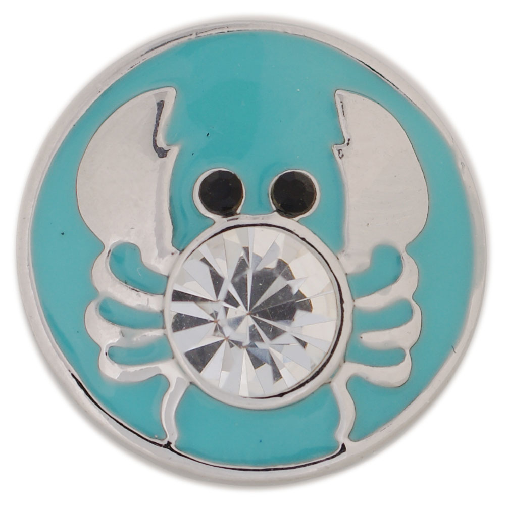 Snap Jewelry Enamel - Crab Blue with Clear Crystal Black Eyes