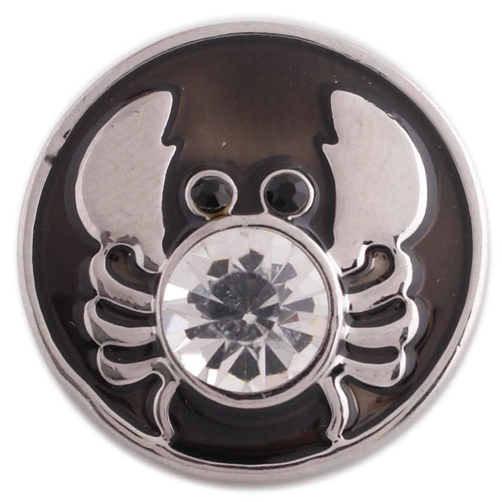 Snap Jewelry Enamel - Crab Black with Clear Crystal & Black Eyes