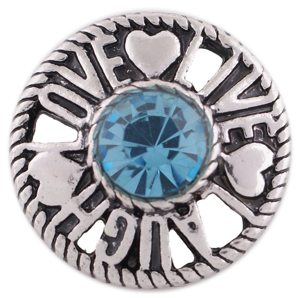 Snap Jewelry Rhinestone Live, Love & Laugh Blue