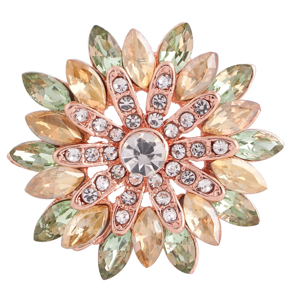 Snap Jewelry Rhinestone Marquise Lime Flower Rose Gold Base