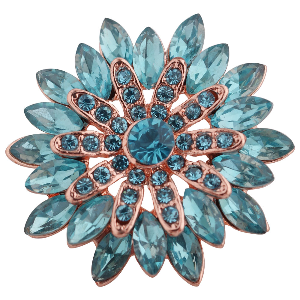 Snap Jewelry Rhinestone - Marquise Cyan Blue Flower on Rose Gold