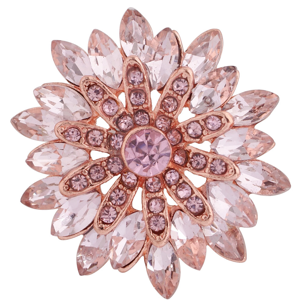Snap Jewelry Rhinestone - Marquise Pink Flower on Rose Gold