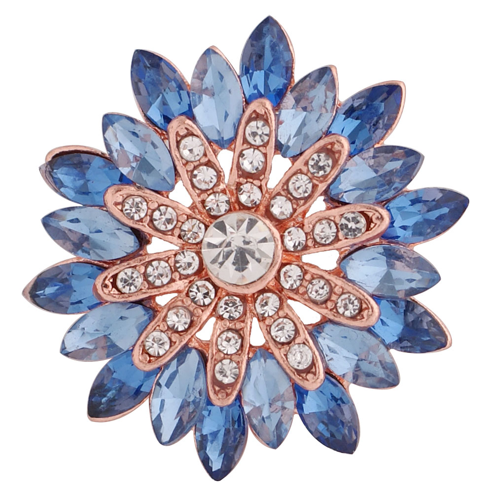 Snap Jewelry Rhinestone Marquise Blue Flower Rose Gold Base