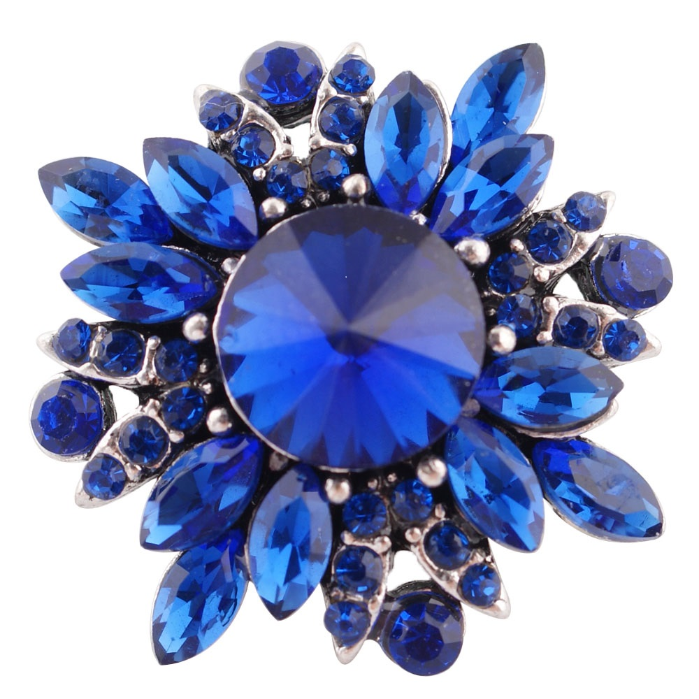 Snap Jewelry Rhinestone Flower Bright Blue