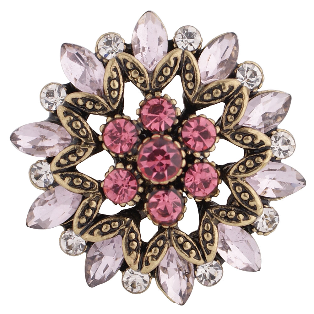 Snap Jewelry Rhinestone Marquise Flower Gold Shades of Pink