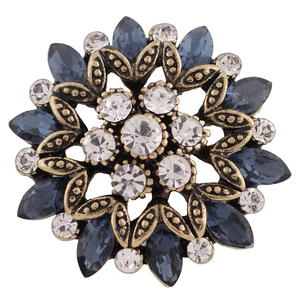 Snap Jewelry Rhinestone Flower Gold Base - Dark Blue & Clear