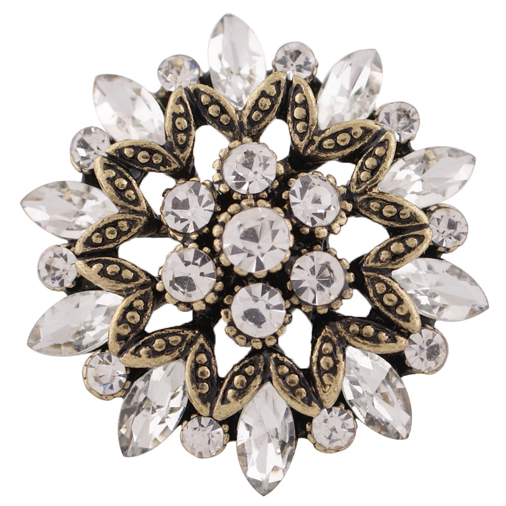 Snap Jewelry Rhinestone Flower Gold Base - Clear