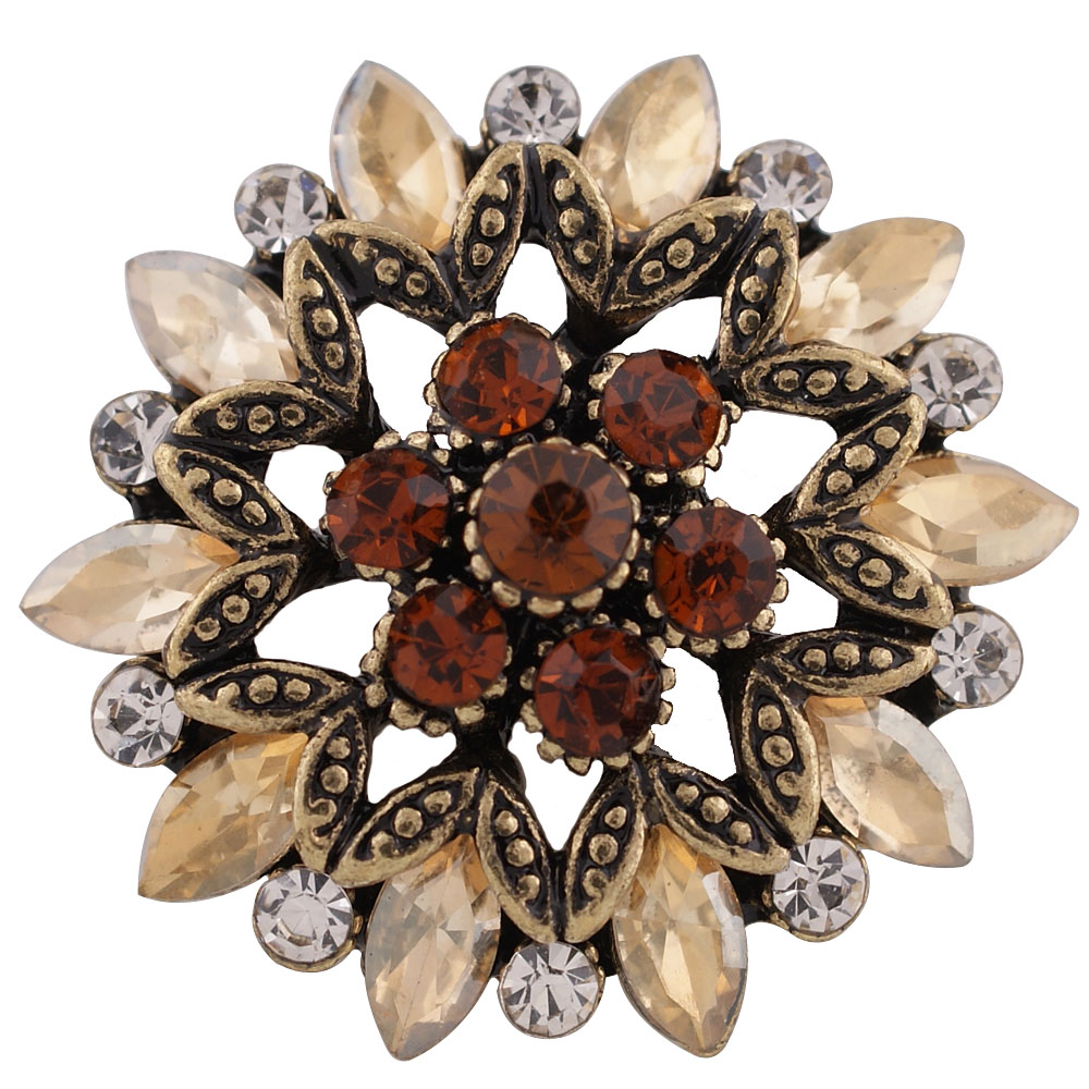 Snap Jewelry Rhinestone Flower Gold Base - Shades of Brown