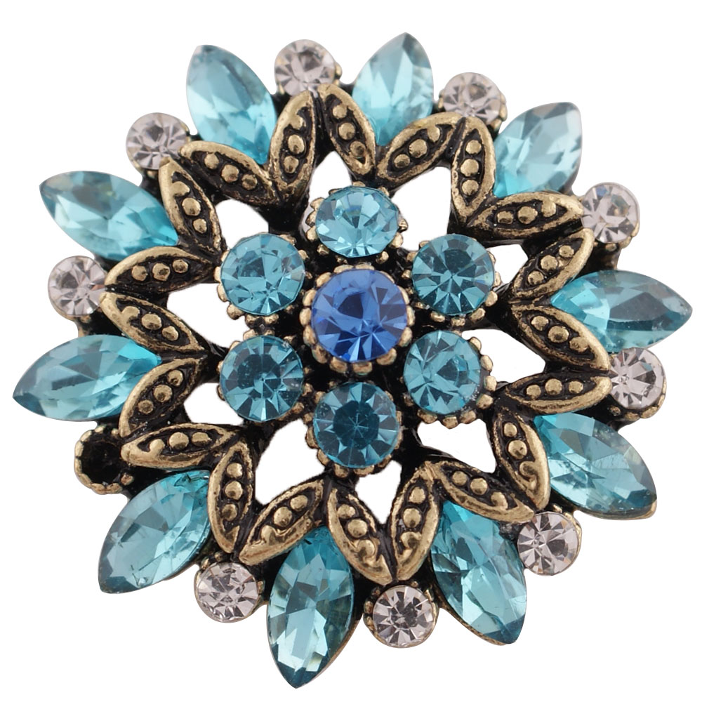 Snap Jewelry Rhinestone Marquise Flower Gold & Blue