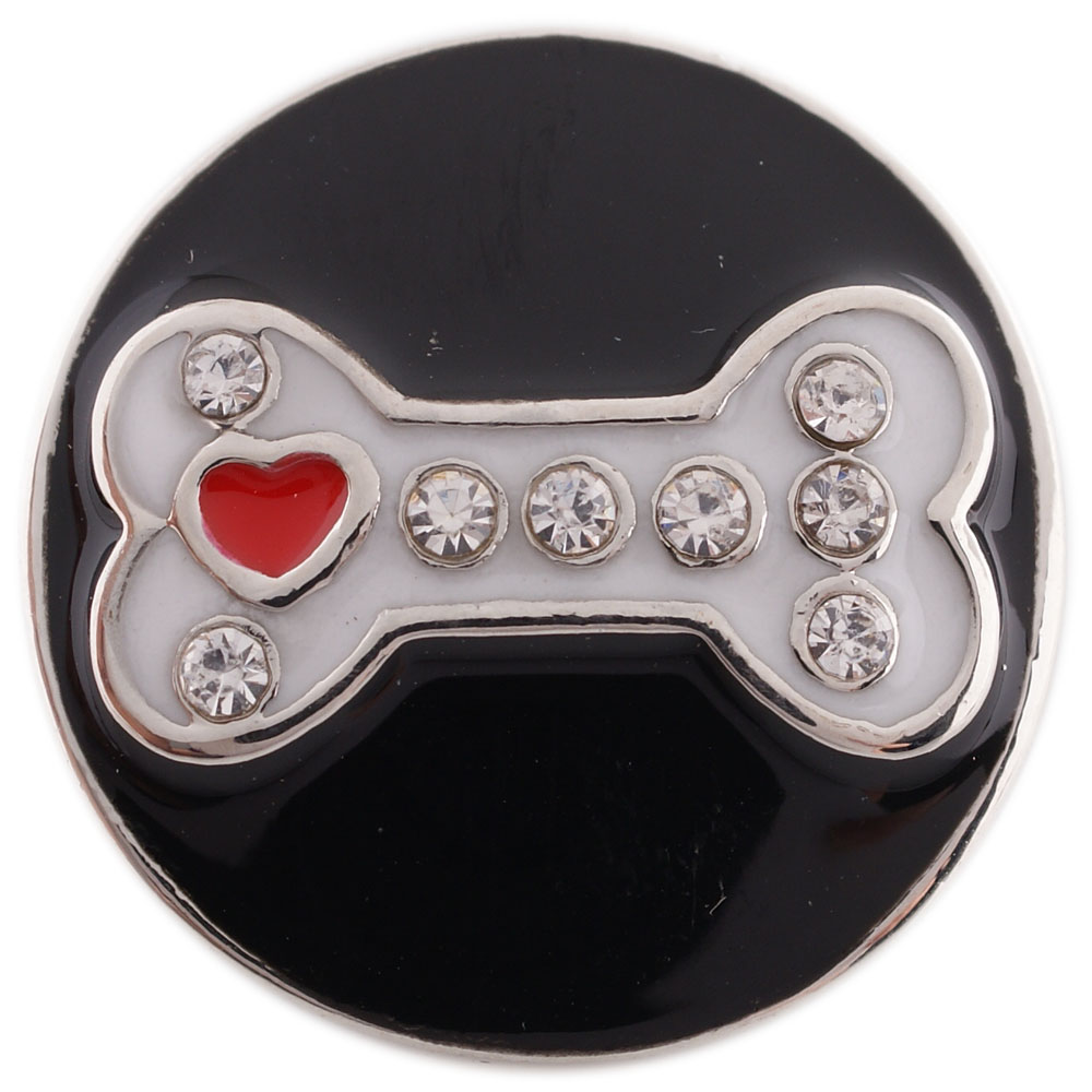 Snap Jewelry Enamel - Black & White Dog Bone Heart in Crystals