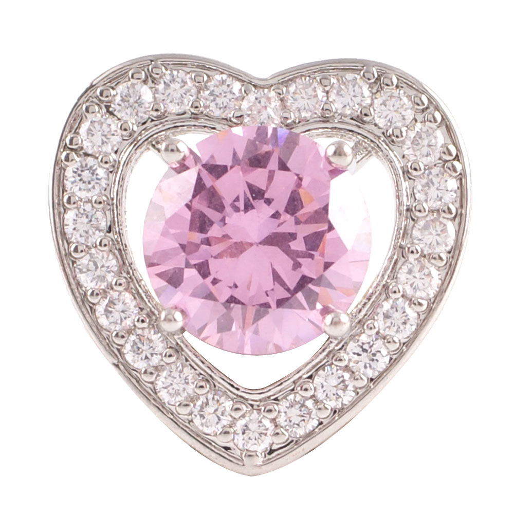 Snap Jewelry Large CZ - Heart Pink