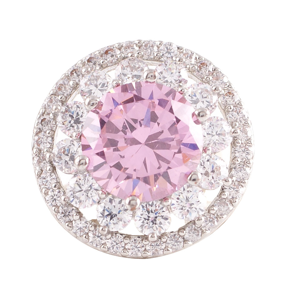 Snap Jewelry Large CZ - Halo Designer Clear & Light Pink