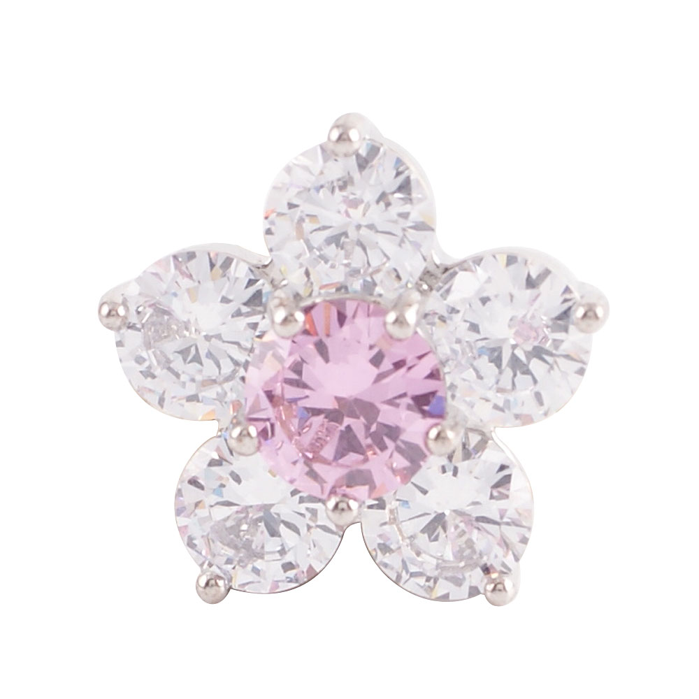 Snap Jewelry Rhinestone - Flower Clear & Light Pink
