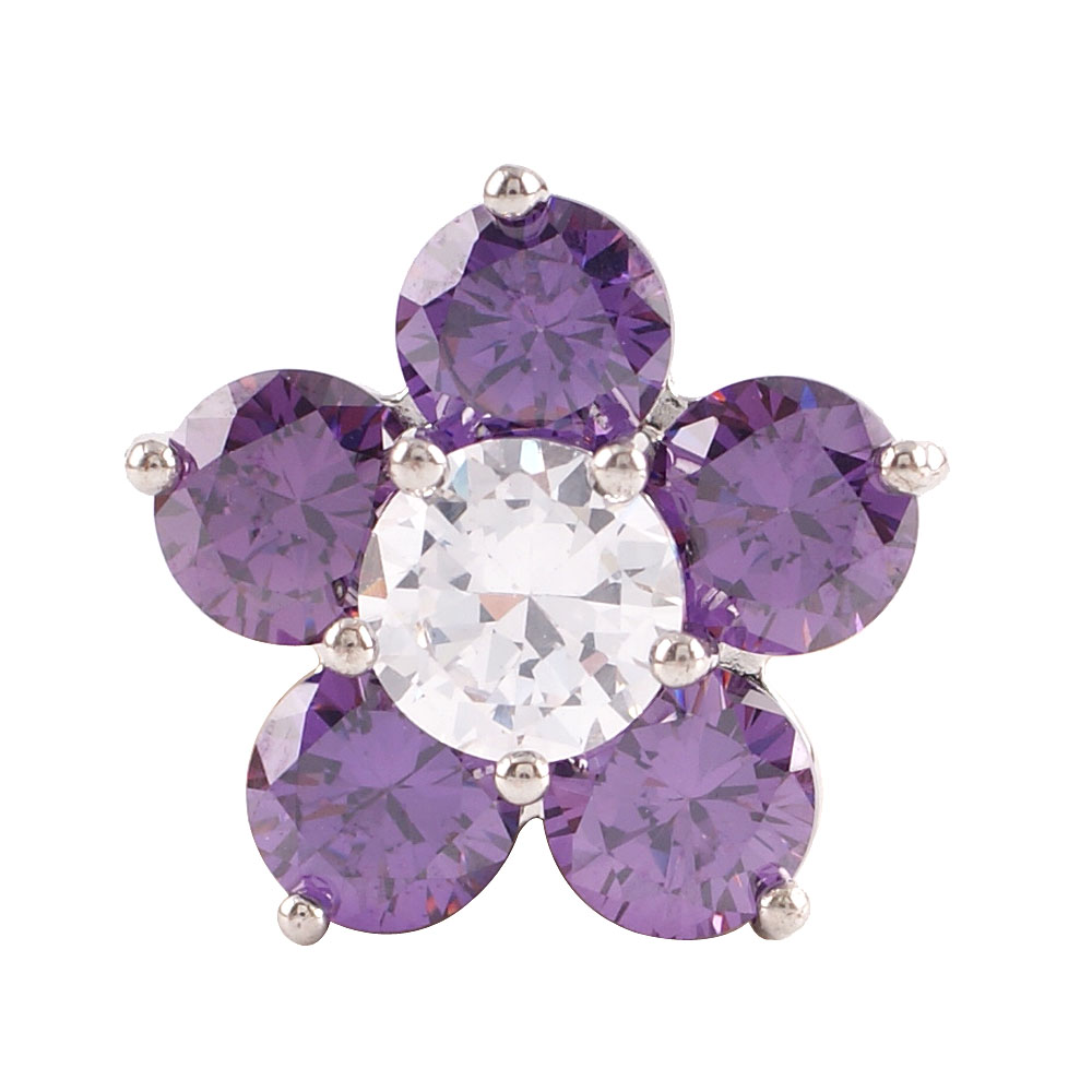 Snap Jewelry Large CZ - Flower Shape Purple & Clear