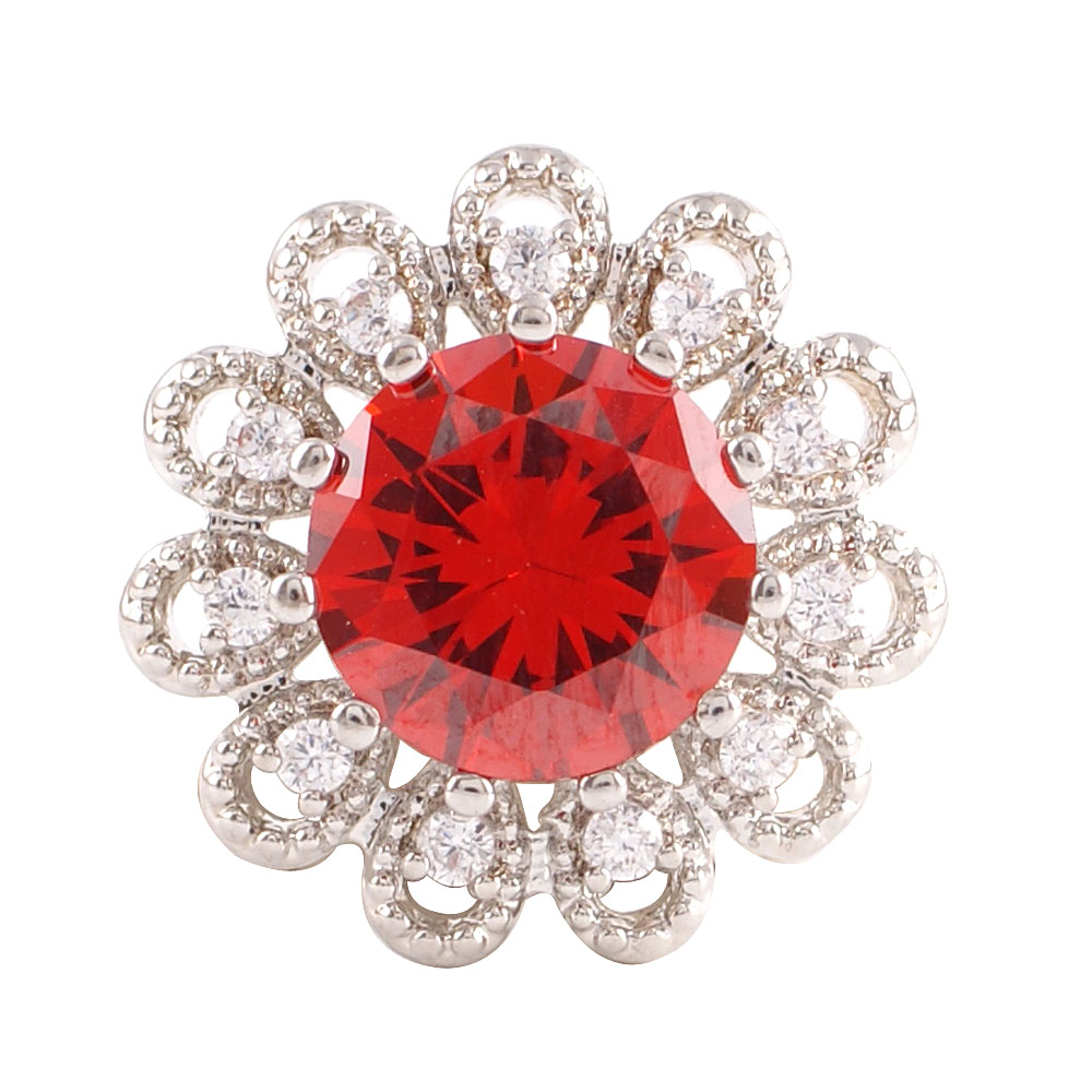 Snap Jewelry Large CZ - Round Flower Red