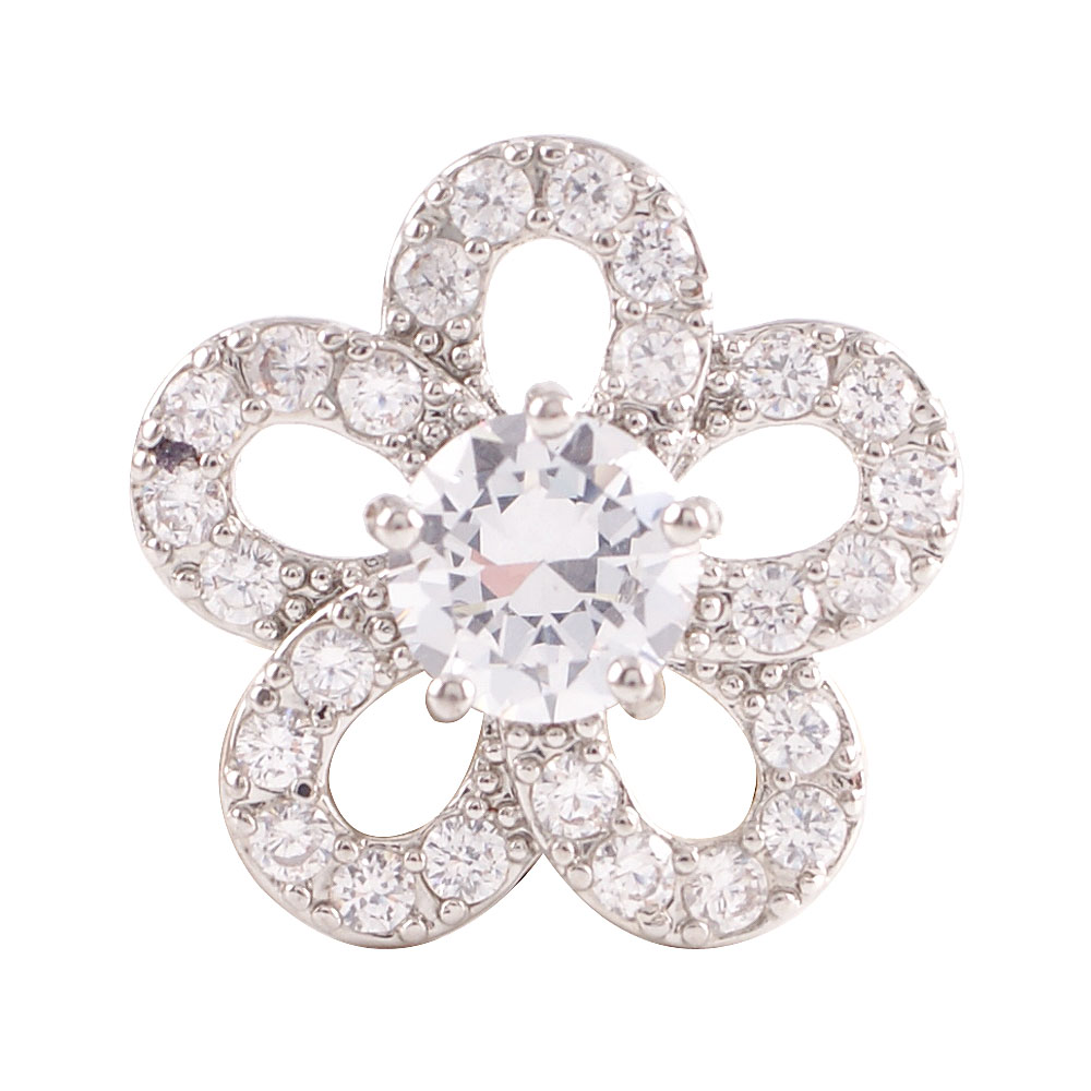 Snap Jewelry Large CZ - Flower Clear
