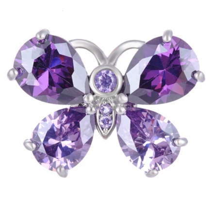 Snap Jewelry Large CZ - Butterfly CZ Purple