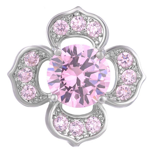 Snap Jewelry Large CZ - Flower Shape Pink & Clear