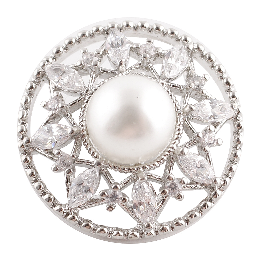 Snap Jewelry Large CZ Pearl Rhinestone - Flower Halo Design