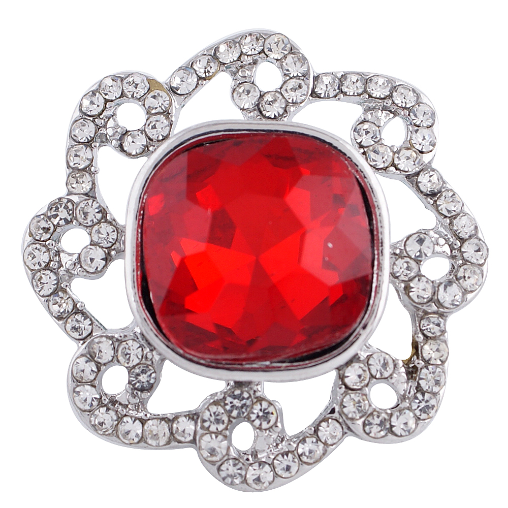 Snap Jewelry Rhinestone Square Waves - Red & Clear
